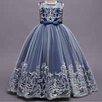 Bella tulle Royal Blue Flower Girl Dresses per matrimoni maniche al collo alto Sweep Train 3D Floral Applique Communion Vestito per ragazze Abiti da pagina Pageant