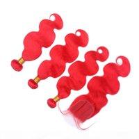 Cabelo humano da onda do corpo Cabelo humano vermelho Pacotes de tecer coloridos com fechamento puro 4x4 do laço Fechamento frontal com extensões de trama do cabelo virgem