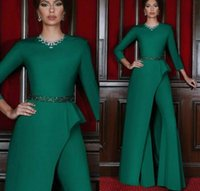 Hunter Green Muslim Evening Jumpsuit Dresses Wear 2021 Beaded Belt Long Sleeve Arabic Caftan Prom Dress with Pant Suit