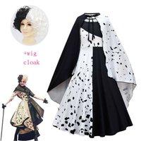 Film Evil Madame Cruella de Vil Cosplay Cosplay Costume Enfants Robe Blanc Robe de princesse Blanche Halloween Vêtements de fête avec cloak Wig G0925