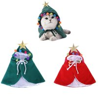Kedi Kostümleri Sevimli Pet Giyim Noel Kostüm Pelerin Hoodie Panço Cape Yavru Sıcak Kapüşonlu Ceket Noel Manto Giysileri Küçük Köpekler için Kediler