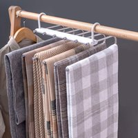 Hangers & Racks Trouser Hanger Stainless Steel Space Saving 6 In 1 Closet Household Storage Multifunction Durable Towels Extendable Foldable
