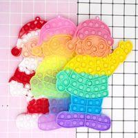 big size 30cm Decompression Fidget Toys Christmas Santa Claus Push Bubble Sensory Autism Special Needs Anxiety Reliever Party Favor OWA7558