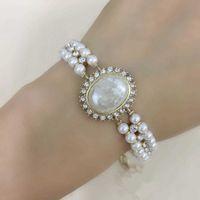 Hot Brand Gold Color Fashion Jewelry For Women Flower Pearls Chain Bracelet Fashion Praty Jewelry Vintage Design Big Width Cuff