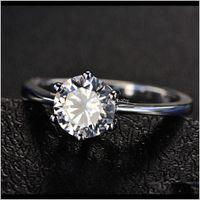 Couple Rings Hbp Fashion Luxury Six Claw Set Heart Eight Arrow Color 3A Zircon Womens Super Flash Simulation Diamond Simple Ring Lxc3Z K56X0