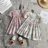 Girl's Dresses Baby Girls Short Sleeve Flower Print Clothes Kids Summer Princess Dress Children Party Ball Pageant Outfit V-neck