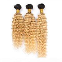 블랙과 금발 옴 브레 버진 브라질 인간의 머리 묶음 3pcs 깊은 파도 인간의 머리카락 더블 Wefts 1B 613 어두운 루트 ombre Weaves Extensions