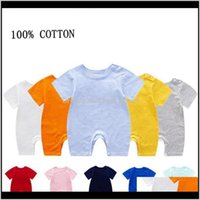Сплошные коммутаторы сублимации хлопок рожденные девочки комбинезон пустым с коротким рукавом младенческий мальчик альпинистская одежда летняя детская одежда TCDFJ FTFW0