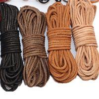 2 metros Redondos Cordón de cuero de vaca genuino 1 2 3 4 5 6 8mm Black Brown Cuero Cuerda Cuerda DIY Pulsera Collar Joyería Fabricación 1577 Q2
