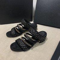 Sandales pour femmes de dessinateur de concepteur Toilettlo Santeau de sandale d'été talon haut talon avec perles et chaîne