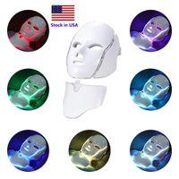 在庫7カラーPDTライト療法LEDフェイシャルネックマスク微小電流フォトン皮の若返りフェイスマスク家の使用