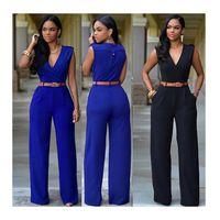 Ladies Two Piece Pants Women Solid Color High-waist V-neck Wide-leg Irregular Suit With Belt Coldker Jumpsuit