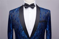 Men's Suits & Blazers Print Blue Men Suit Jacket Shawl Lapel Formal Casual Slim Fit Coat One Button Grooms Evening Prom Blazer Custom Made