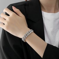 Fashion Personality Hip-hop Geometric iced out bling Bracelet For Women Female Men Pendant Chain Girls Bracelets bangle Miami cuban link chains Jewelry Party Gifts