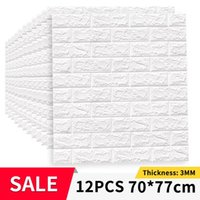12pcs Self Adhesive Wallpaper Peel And Stick 3D Wall Panel Living Room Brick Stickers Bedroom Kids Papers Home Decor Wallpapers