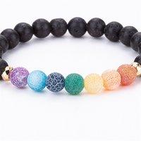 Bracelets en perles colorées Bracelets 8mm Natural Lava Perles Perles de pierre Chakra Volcanic Rock Aromatherapy Huile Essential Diffuseur Bracelet pour femme 847 Q2