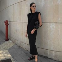 Autumn Shoulder Padded Sleeveless Dress Women's Elegant Black O-Neck Loose Pullover T-Shirt Long Dresses For Women 2021 Casual
