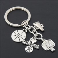 TAVIS 13pcSilver Color keychain Pendant I Love Soccer Baseball Basketball Key Chain With Shoe Key Ring Gift For Car Keychain Cheer Jewelry key chain