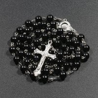 Pendant Necklaces Religious Christianity Artificial Pearl Rosary Necklace Virgin Mary Jesus Cross Chain Fashion Jewelry