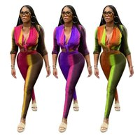 Women's Two Piece Pants Deep V Neck Long Sleeve Bro And Sexy Tight Club Party Lady Fashion Tracksuits High Street Outfits