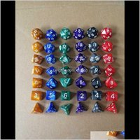 Gamsing 10PCS SET DICE SET Многосторонние полиэдрические кубики наборы RPG игра 1 шт. D4 D6 D8 D12 D20 D24 D30 D10 09 110 0090 D15 ZJNI3 P8AZV