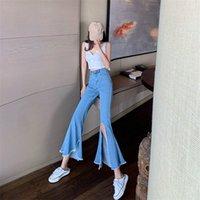 Bella Philosophie Hohe Taille Solid Koreanisches Rissloch Sexy Flare Hose Glocke Boden Hohe Taille Jeans Denim Slim Nette unten 210419