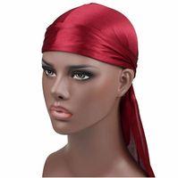 Fashion Men Satin Durags Bandanna Turban Wigs Pirate Hat Men Silky Durag Headwear Headband Q78