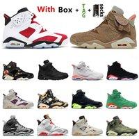 Mit Box Nike Air Jordan 6 Jumpman Herren Basketballschuhe 6s Carmine 6 Travis Scotts Britische Khaki Tech Chrom Schwarz Infrarot Hare Trainer Turnschuhe