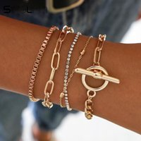 5PCs Easy Hook Fashion Crystal Multi-laye Bracelets For Women Gold Wrist Chain Set Female Boho Statement Bracelet Jewe Link,