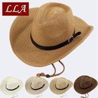 Hombre gorra de paja estilo de vaquero de ala ancha jazz gorras con estilo Panamá sombrero 5 colores unisex 58cm hood playa sol sombreros lla862