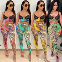 Women Designer Two Piece Pants Set Tracksuits Fashion Sexy Tight Sling Milk Silk Digital Printing Outfits