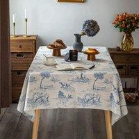 ريفي سماط، كلاسيكي قرية الفرنسية المطبوعة الكتان النسيج الجدول غطاء، مستطيل سماط الأزرق للمطبخ الطعام القماش