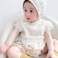 Jumpsuits 0-3T Born Kid Baby Girl Flower Clothes Summer Short Sleeve Lace Floral Romper Elegant Cute Princess Body Suit Outfit Jumpsuit