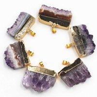 Hot Natural Stone Amethysts Slice Druzys Pendants Purple Crystal Quartz Necklace Male Raw Slab Geode Women 6PCS Fashion Jewelry G0927