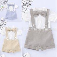 Мальчик слинг сиамских наборов дети дизайнер одежда детский мальчик лук сплошной цвет с коротким рукавом короткие штаны устанавливаются DHL 772 x2