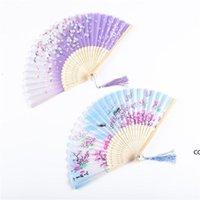Yaz Vintage Katlanır Bambu Fan Parti Favor Için Çin Tarzı El Çiçek Hayranları Dans Düğün Dekor DHB7687