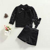 Clothing Sets 2Pcs Fashion Fall Baby Girls Clothes Suits Long Sleeve Floral Bow Lace Mesh Shirt Tops Black Strap Skirt Shorts Set