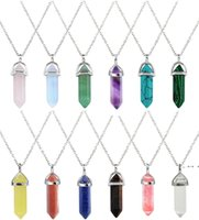 Necklace Jewelry Crystals Amethyst Rose Quartz Bead Chakra Healing Point Women Men Natural Stone Pendants Leather Necklaces FWA8587
