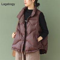 Lagabogia mulheres 90% branco pato para baixo colete colete feminino ultra luz colete outono inverno zíper solto mangas casaco 210913