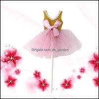 Diğer Ev GardenDiğer Festival Parti Malzemeleri 5 adet Glitter Tutus Elbise Kek Toppers Balerin Etek Cupcake Kızlar Doğum Günü Tema Için Picks