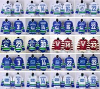 Vancouver Canucks Gelo Hóquei 14 Alexandre Burrows Jersey 3 Kevin Bieksa 22 Daniel Sedin 33 Henrik Sedin 16 Trevor Linden Azul Branco Vermelho