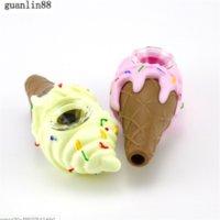 아이스크림 디자인 마른 허브 용 실리콘 핸드 파이프 실리콘 흡연 파이프 유리 봉 3 색 선택