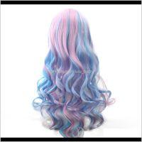 70 cm Donne lunghe ombre colore ad alta temperatura fibra rosa blu cosplay parrucca peruca pelucas 3xgli ngavz