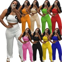 Women tracksuits 2 piece set summer fall clothing chest wrap pants sportswear pullover crop top strapless leggings outfits pocket t-shirt trousers bodysuits 01627