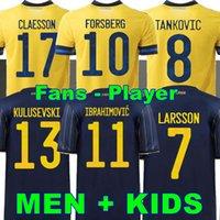 팬 플레이어 버전 2021 스웨덴 축구 유니폼 홈 멀리 ibrahimovic Kulusevski Berg Forsberg Larsson Tankovic Isak Claesson 축구 셔츠 남성 + 아이들