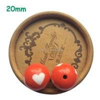 Charming Red heart printed beads. 115 pieces acrylic 20mm chunky bubblegum necklace ball