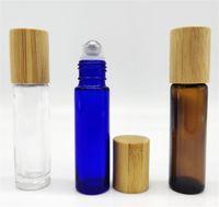 الجملة 10ML الزجاج لفة على زجاجة مع غطاء الخيزران للزيوت الأساسية، صديقة للبيئة إعادة الملء زجاج زجاجات عينة العطور