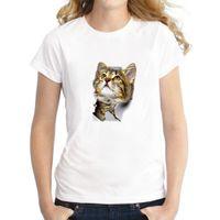 2021 Fashion 3D Cat Stampa Harajuku Donne T-shirt Summer Manica Corta O-Neck Tshirt Casual Streetwear Top femminile T-shirt vestiti