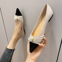 autumn evening breeze gentle shoes small fragrant breeze pearl fairy flat shoes pointed shallow mouth low heel shoes