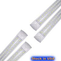 25 pcs, 8 pés LED Lojas, 8 pés Cooler Porta Congelador Tube Luminária de Iluminação, 2 Row 100w 10000 LM, V Forma Tubos Fluorescentes Clear Cover Linkable AC85-265V 14400LM usalight